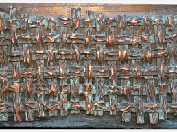 Dimensions: 18x26 inches. Copper on bronze.