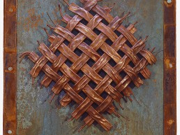 Dimensions: 30x40 inches. Copper weave on copper with layered steel frame.
