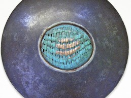 Dimensions: 20 inches. Copper weave in steel; old plowing disk.